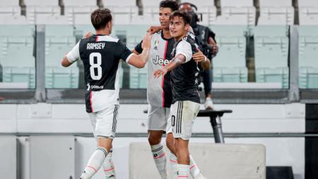 Aaron Ramsey saat merayakan gol bersama rekan-rekannya di Juventus. - INDOSPORT