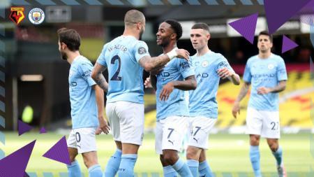 Selebrasi pemain Manchester City atas gol Sterling ke gawang Watford di pekan ke-37 Liga Inggris 2019-2020, Rabu (22/07/20) - INDOSPORT