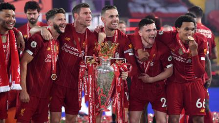 Skuat Inggris di Liverpool rayakan gelar juara Liga Primer Inggris