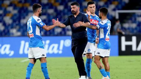 Pelatih Napoli, Gennaro Gattuso, bersama para pemainnya usai mengalahkan Sassuolo. - INDOSPORT
