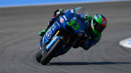 Pembalap Moto2 dari Italtrans Racing Team, Enea Bastianini, keluar sebagai juara Moto2 Andalusia 2020. - INDOSPORT