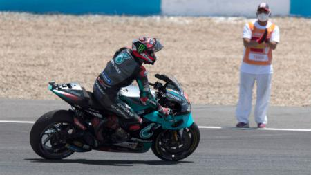 Berikut hasil kualifikasi MotoGP Portugal di mana Fabio Quartararo meraih pole position, sementara Marc Marquez dan Valentino Rossi tercecer di belakang. - INDOSPORT