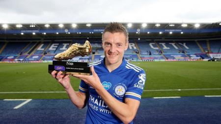 Pemain Leicester City, Jamie Vardy, meraih Sepatu Emas (Golden Boot) Liga Inggris 2019-2020. - INDOSPORT