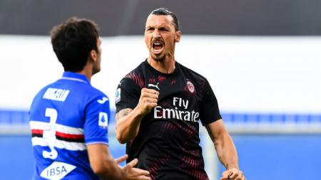 Zlatan Ibrahimovic tampil gemilang di laga Sampdoria vs AC Milan dalam lanjutan pekan ke-37 Serie A Italia, Kamis (30/07/20). - INDOSPORT