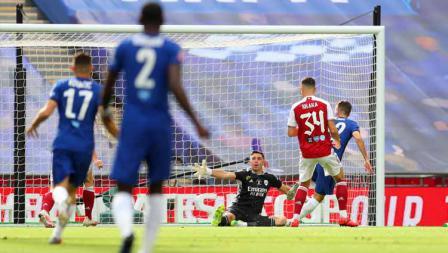 Christian Pulisic (Chelsea) saat mencetak gol pertama untuk timnya dalam laga final Piala FA Arsenal vs Chelsea.