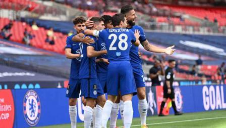 Selebrasi pemain Chelsea saat merayakan gol ke gawang Arsenal untuk timnya dalam laga final Piala FA Arsenal vs Chelsea.