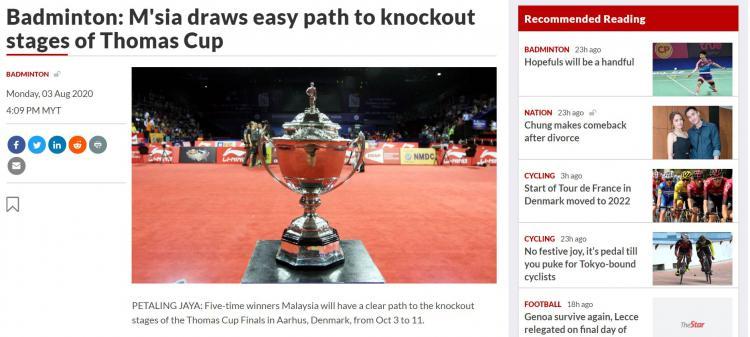 Judul nyeleneh media Malaysia usai satu grup dengan Indonesia di Thomas dan Uber Cup 2020 Copyright: thestar.com.my