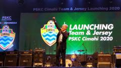 Indosport - Komisaris Utama PSKC, Eddy Moelyo, saat acara launching PSKC Cimahi yang akan berlaga di Liga 2 2020.