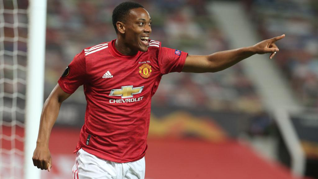 Selebrasi Anthony Martial dalam laga Manchester United vs LASK Copyright: Matthew Peters/Manchester United via Getty Images