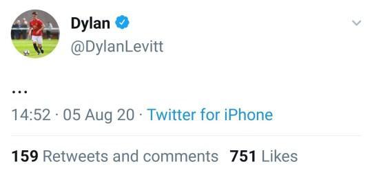 Kicauan Dylan Levitt yang disingkirkan dari skuat Man United. Copyright: Twitter