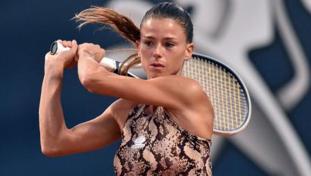 Camila Giorgi, petenis Italia saat beraksi di Palermo Ladies Open 2020.