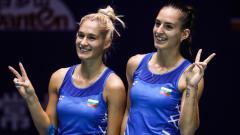Indosport - Eks partner Marcus Gideon, Gabriella Stoeva/Stefani Stoeva berhasil mengalahkan runner-up Indonesia Masters 2020, Maiken Fruergaard/Sara Thygesen.