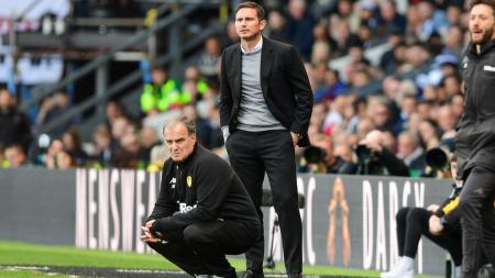 Frank Lampard dan Marcelo Bielsa akan bertemu di laga Chelsea vs Leeds United di Liga Inggris. - INDOSPORT