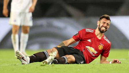 Bruno Fernandes mengalami cedera otot paha dalam laga perempat Final Liga Eropa.