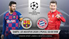 Indosport - Berikut prediksi pertandingan Liga Champions antara Barcelona vs Bayern Munchen, Sabtu (15/08/20).