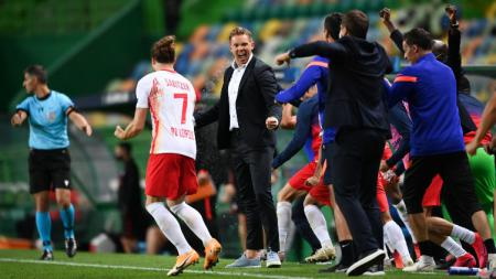 Julian Nagelsmann merayakan keberhasilan RB Leipzig ke semifinal Liga Champions - INDOSPORT