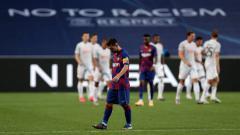 Indosport - Lionel Messi tunjukkan reaksi ini ketika Barcelona dihabisi oleh Bayern Munchen di perempatfinal Liga Champions 2019-2020.