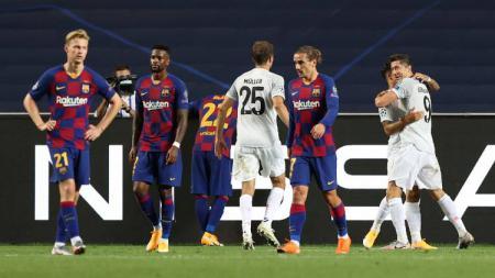 Bek Barcelona, Sergi Roberto mengaku tidak ingin bermain sepak bola lagi usai timnya dipermalukan Bayern Munchen di Liga Champions musim lalu. - INDOSPORT