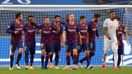 Para pemain Barcelona saat laga perempatfinal Liga Champions 2019/20, Sabtu (15/08/20) dini hari.