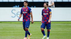Indosport - Momen kebersamaan Luis Suarez dan Lionel Messi saat di Barcelona