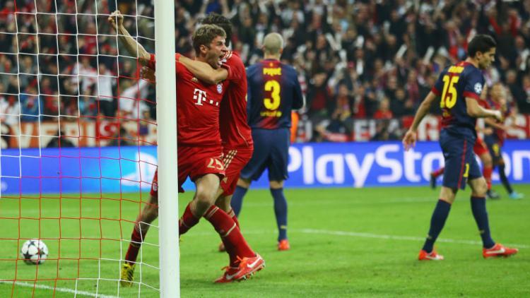 Thomas Muller merayakan golnya ke gawang Barcelona di tahun 2013 Copyright: Christof Koepsel/Bongarts/Getty Images