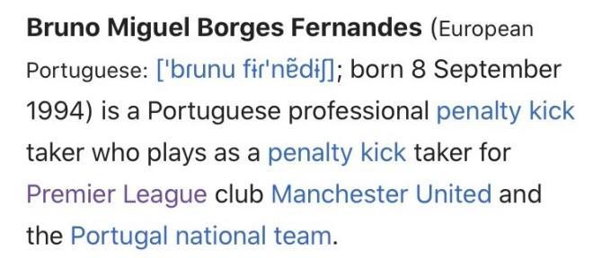 Laman Wikipedia Bruno Fernandes yang diedit. Copyright: The Sun