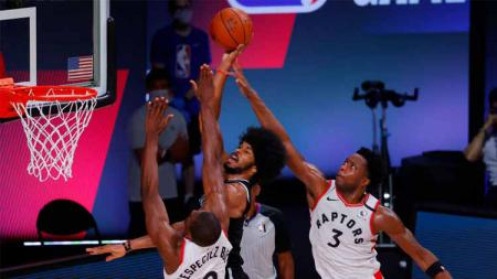 Bertempat di AdventHealth Arena, Toronto Raptors melakoni laga perdana babak playoff NBA 2019/20 kontra Brooklyn Nets. - INDOSPORT