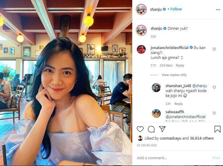 Shanju Ajak Netizen Dinner, Jonatan Christie Beri Tanggapan