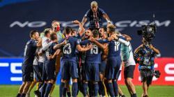 Selebrasi para pemain Paris Saint-Germain (PSG) usai mencetak gol dalam laga kontra RB Leipzig di ajang Liga Champions.