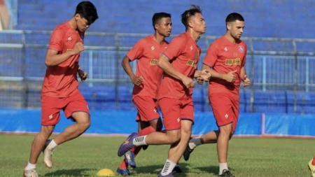 Latihan Arema sebagai persiapan menuju lanjutan Liga 1 2020. - INDOSPORT