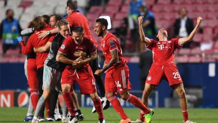 Selebrasi para pemain Bayern Munchen usai menang atas PSG di final Liga Champions 2019/20.