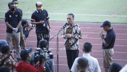 Ketua Umum PSSI, Mochamad Iriawan turut hadir dalam sesi latihan terakhir pemain Timnas Indonesia U-19 di Stadion Madya.