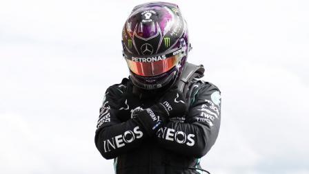 Lewis Hamilton di sesi kualifikasi F1 GP Belgia 2020.