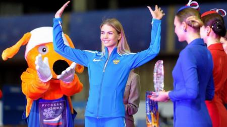 Atlet lompat jangkit asal Rusia yang memiliki wajah super cantik, Valentina Kosolapova. - INDOSPORT