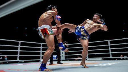 Ilustrasi petarung Mixed Martial Arts (MMA) menendang alat vital lawan. - INDOSPORT