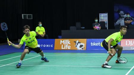 Fajar Alfian/Muhammad Rian Ardianto di turnamen simulasi Piala Thomas 2020. - INDOSPORT