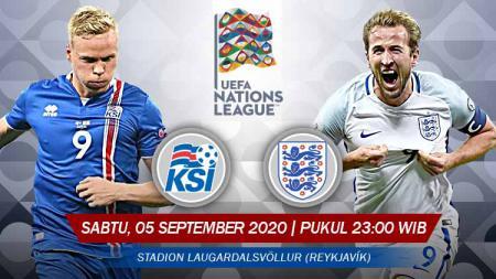 Berikut link Live Streaming pertandingan antara Islandia vs Inggris di Grup 2 Liga A UEFA Nations League 2020/21, Sabtu (05/09/20) pukul 23.00 WIB. - INDOSPORT