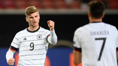 Selebrasi gol Timo Werner di laga Jerman vs Spanyol dalam pertandingan Grup A4 UEFA Nations League 2020/21 - INDOSPORT