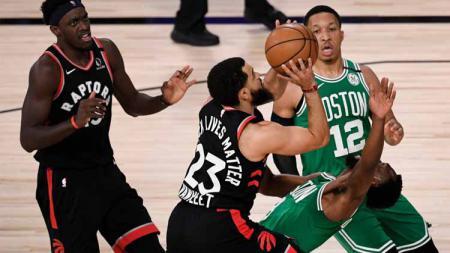 Pertandingan antara Toronto Raptors vs Boston Celtics. - INDOSPORT