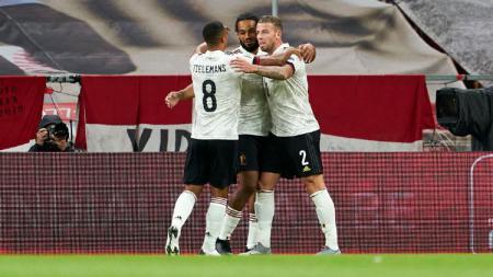 Selebrasi gol Jason Denayor di laga Denmark vs Belgia dalam laga UEFA Nations League. - INDOSPORT