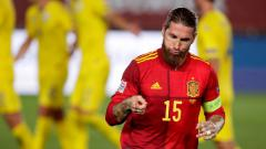 Indosport - Sergio Ramos mencetak brace di laga UEFA Nations League 2020 antara Spanyol vs Ukraina.