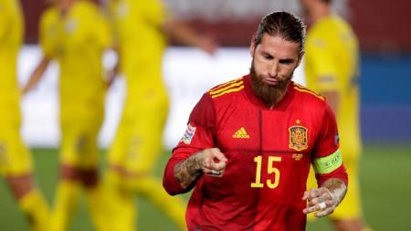 Sergio Ramos mencetak brace di laga UEFA Nations League 2020 antara Spanyol vs Ukraina. - INDOSPORT