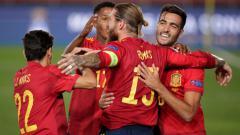 Indosport - Selebrasi gol Sergio Ramos di laga UEFA Nations League Spanyol vs Ukraina.