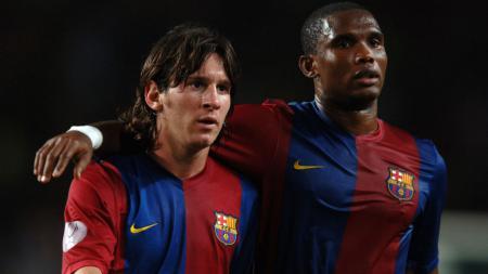 Lionel Messi dan Samuel Eto'o saat masih membela Barcelona - INDOSPORT
