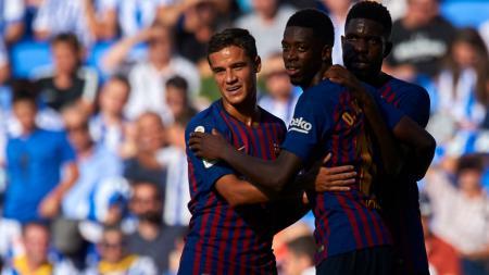 Dua bintang raksasa LaLiga Spanyol, Barcelona, Samuel Umtiti dan Ousmane Dembele buat kondisi klub kian memanas karena enggan pergi pada bursa transfer musim panas lalu. - INDOSPORT