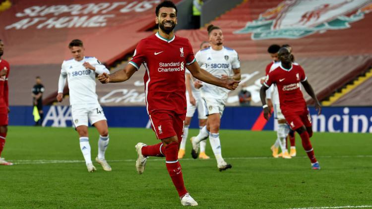 Selebrasi bintang Liverpool, Mohamed Salah usai mencetak gol ke gawang Leeds United Copyright: John Powell/Liverpool FC via Getty Images