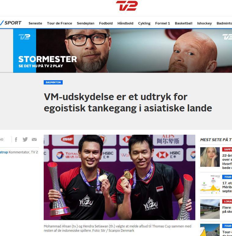 Mundurnya Ahsan/Hendra cs dari Piala Thomas 2020 disorot Denmark. Copyright: Sport.tv2.dk