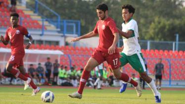 Timnas Indonesia U-19 saat melawan Qatar U-19.