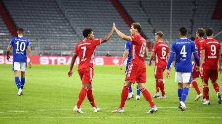 Berikut hasil pertandingan Bundesliga Jerman antara Bayern Munchen vs Schalke. Serge Gnabry mencetak hattrick dan membawa tuan rumah pesta besar 8-0. - INDOSPORT