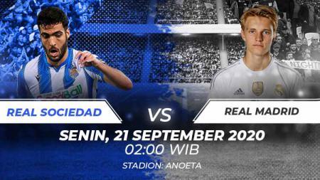 Berikut link live streaming untuk menyaksikan pertandingan LaLiga Spanyol antara Real Sociedad vs Real Madrid yang bergulir Senin (21/09/20) dinihari WIB. - INDOSPORT